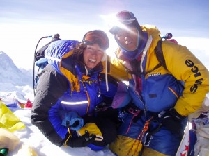 Susan and Ang Nuru on the summit of Mount Everest at 7a.m. on 16th May 2004