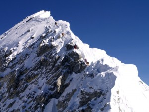 The summit ridge of Everest. When you let go of the pretence, reaching your goal is effortless...
