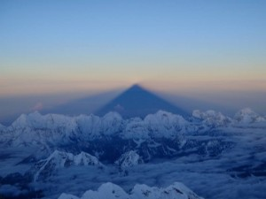 The shadow of Everest projected by the rising sun